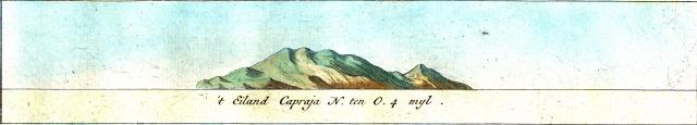 Isola di Capraja vista da Nord-Ovest a 4 miglia dalla costa