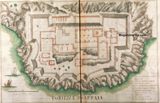 F. M. Accinelli, Fortezza di Capraia con il Magazzino del sale, 1774