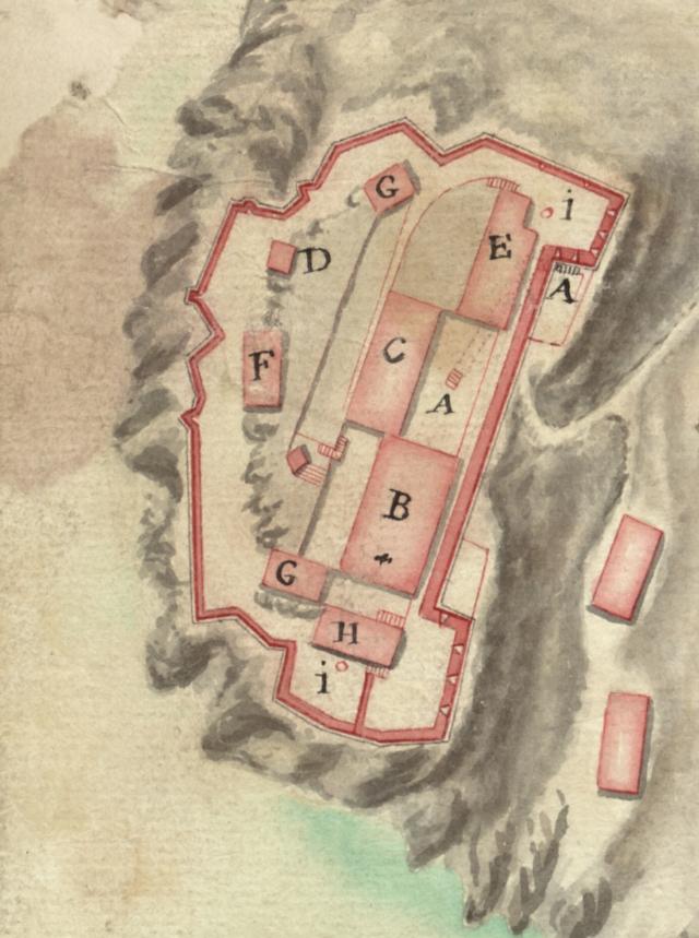 plan de caprara et de son chateau dans l'ile du meme nom52,5*41cm